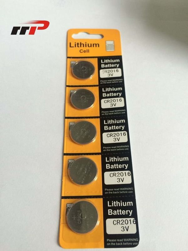 Primary Button Cell 75mAh CR2016 Lithium Battery 3.0V / Li-MnO2 Blister Card Coin Battery